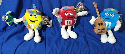 """2003 M&m Collectible Red Yellow & Blue Hippy Stuffed Character 5"""" H Lot Of 3"""