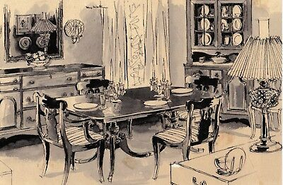 1951 original drawing for W&J Sloane furniture ad by Max Walter with ad.