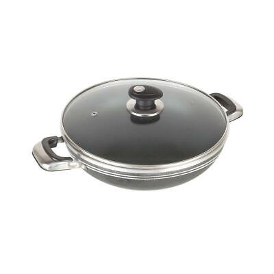 Non-Stick Coated WOK Fry Frying Sauce Pan with Glass Lid Inductionable Base 26cm