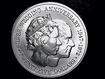 CAYMAN ISLANDS 25 Dollars 1972 - Silver - Wedding Anniversary Elizabeth II