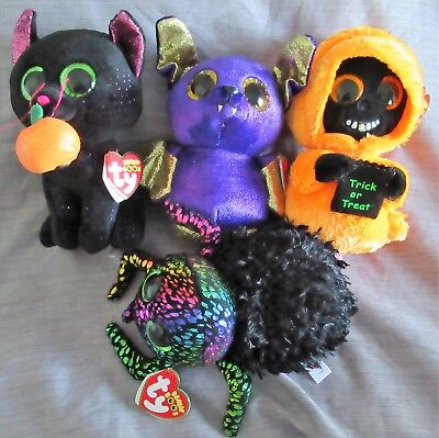 "SET of 4 - Halloween 2018 TY Beanie Boos 6"" - LEGGZ GRINNER COUNT POTION - NEW"