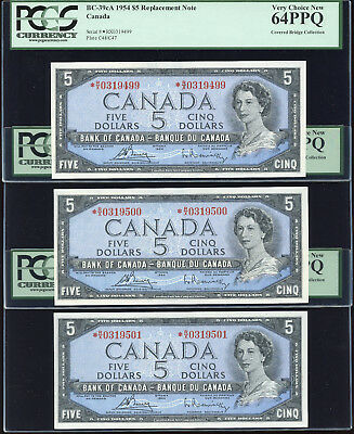 3 Consecutive 1954 Bank of Canada $5 Replacement Notes *R/X PCGS Gem New 64 PPQ