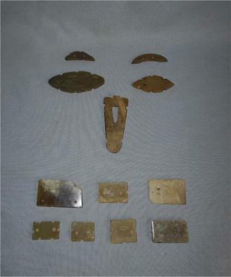 Antique China TOP HIGH AGED ZHOU JADE BURIAL MASK AND DRESS SEGMENTS