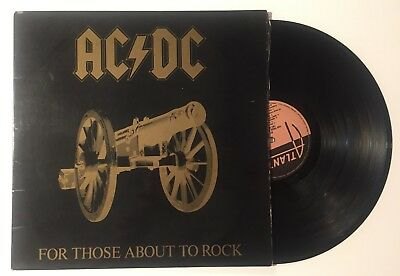 AC/DC - For Those About to Rock Vinyl Spain EX- 1981 Gatefold Rare Dark Cover