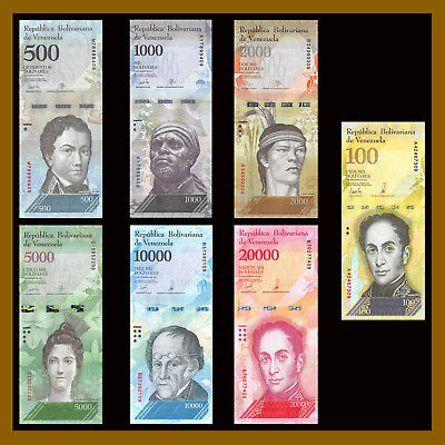 Venezuela 500 - 100000 (100,000) Bolivares (7 Pieces Pcs Set), New 2016-2017 Unc