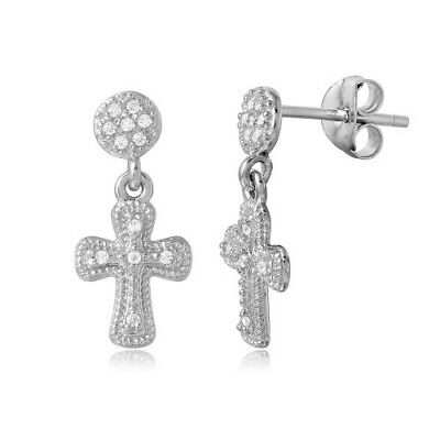 Womens Sterling Silver 925 Rhodium Plated Hanging Cross CZ Earrings