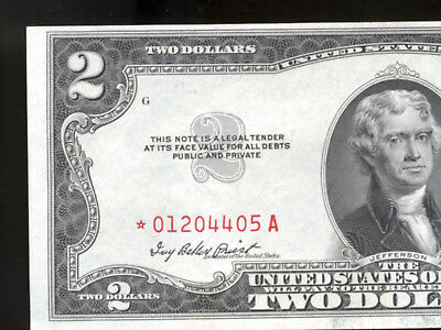 1953 $2 United States Red Seal Star Note Crispy Nice
