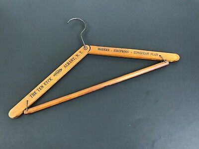 Vintage Wooden Clothes Hanger The Ten Eyck Hotel Albany NY Collapsible Compact