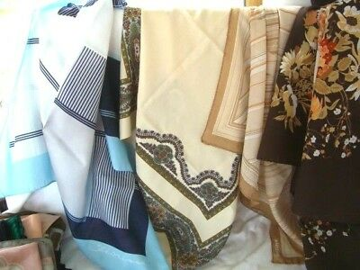 Job Lot Of 4 - some Real Silk vintage Scarves With Hand Rolled & Stitched Edges