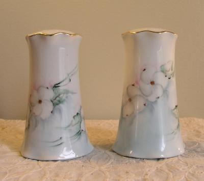 Antique Hand Painted Porcelain Salt & Pepper Shakers 4.5 Inches Artist Signed