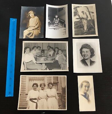 Lot of 7 Vintage Photos of Young Women - c. 1920s-50s - Fashion, Portraits+