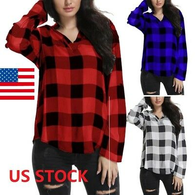 e006066d9c0 New Women V-Neck Long Sleeve Plaid Cotton Blouses Tops Tunic Shirt Plus Size