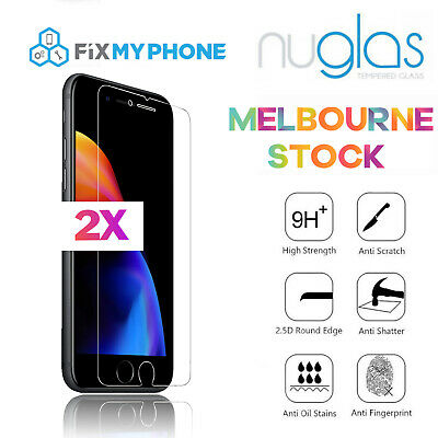 2x For iPhone 8 Premium NUGLAS Tempered Glass Screen Protector