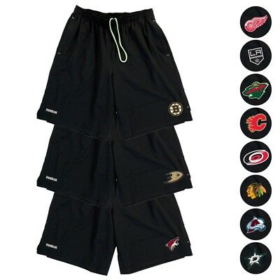 NHL Reebok Center Ice TNT PlayDry Performance Black Team Shorts Collection Men's