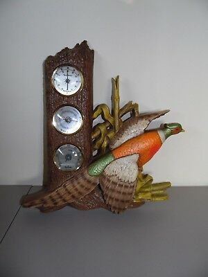 Vintage Burwood Barometer/Thermometer/Pheasant - Made in U.S.A.