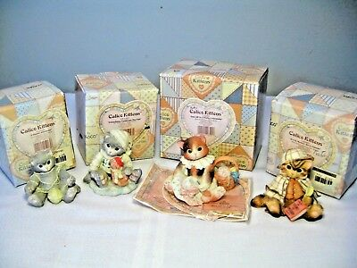 LOT of 4 CALICO KITTENS (1994) FIGURINES with BOXES