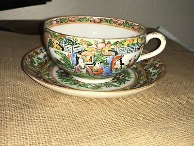 Antique Chinese Export Famille Rose Medallion Canton Tea Cup & Saucer