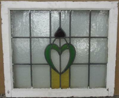"MID SIZED OLD ENGLISH LEADED STAINED GLASS WINDOW Pretty Crest 24.75"" x 21"""
