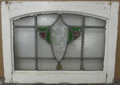 """OLD ENGLISH LEADED STAINED GLASS WINDOW Cute Archtop Abstract 20.25"""" x 14.75"""""""