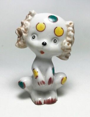 White Poodle Dog Figurine Mini Green Yellow Polka Dots Porcelain Vintage Japan