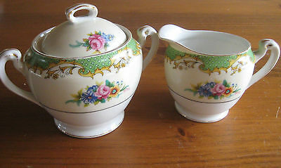 Antique Noritake Japan  Cream  And Covered Sugar  C1918-1921