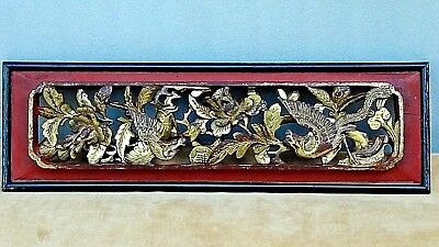 ANTIQUE 19c CHINESE WOOD GILT LACQUERED PIERCED RELIEF BIRD,PHOENIX TEMPLE PANEL