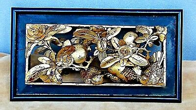 ANTIQUE 19c CHINESE WOOD GILT LACQUERED PIERCED RELIEF BIRDS,FRUITS,TEMPLE PANEL