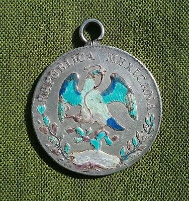 Mexico 1894 Silver 8 reales coin converted to pendant