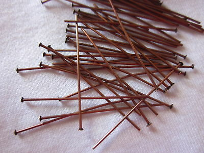 50 Antique Copper Coloured 38mm Brass Headpins Head Pins #816 Jewellery Making