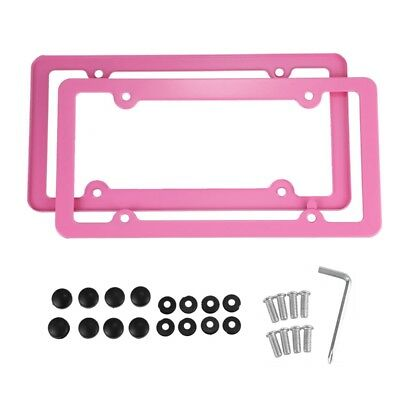Pink Aluminum alloy License Plate Frame 2 Pieces with Screw Caps 4 Holes I1W5