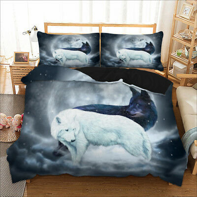 Wolf Animal Theme Duvet Cover with Pillow Cases Quilt Cover Bedding Set All Size