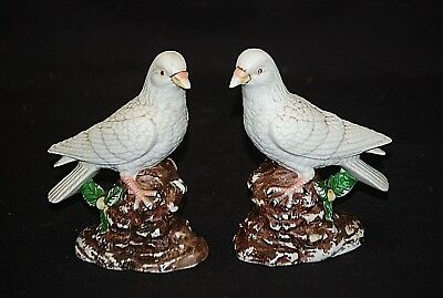 Vintage Set of Bisque Dove Figurines Mantel Table Weddings Curio Cabinet Shelf