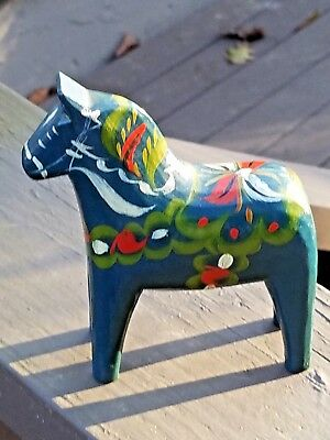 "Nils Olsson 4"" Swedish Folk Art Carved Wood Handmade Blue Dala Horse Antique"