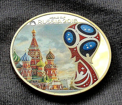 World Cup Russia 2018 Gold Coin Kremlin Faux Diamond Eagle Emblem Logo Football
