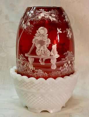 Fenton, Fairy Light, Mary Gregory, Cranberry Glass, Limited Edition, Hand Decora