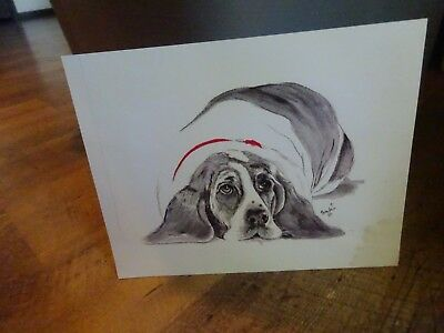 Basset Hound Dog Acrylic Watercolor Numbered Print Art Signed Picture 8 x 8