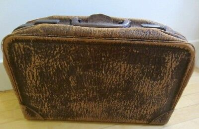 "Vintage Suitcase Top Grain Leather (inside and out)  20"" X 12"""
