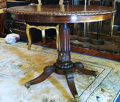 Antique Ornate Deep Carved Wood  Dinner Table Acanthus Brass Lions Feet & Wheels