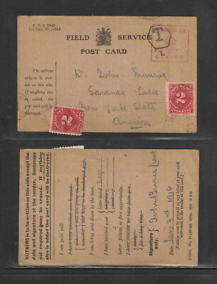 1916 Ww I Field Service Postcard Us / Foreign Postage Due Stamps Great Cancels