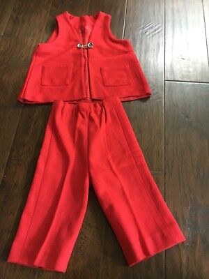 Vintage Handmade Red Vest And Pants Unisex Toddler Size