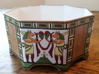 Japanese Nippon Art Deco Flower Footed Octagon Bowl Planter with Moriage