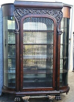 HUGE DOLPHIN CARVED Bowed Glass China Cabinet Curio Restoration / Repair LA AREA