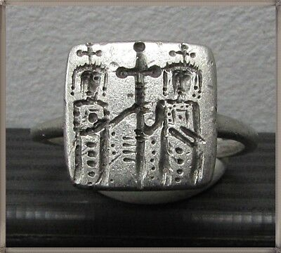 ** Constans II and Constantine IV ** Ancient Silver Byzantine Ring ** CROSS **
