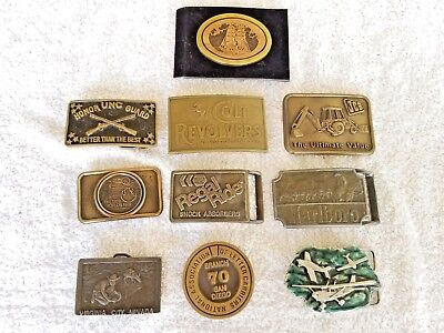10 VINTAGE SOLID BRASS BELT BUCKLES Various themes