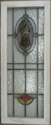 "LARGE OLD ENGLISH LEADED STAINED GLASS WINDOW Stunning Abstract 15.5"" x 38.25"""