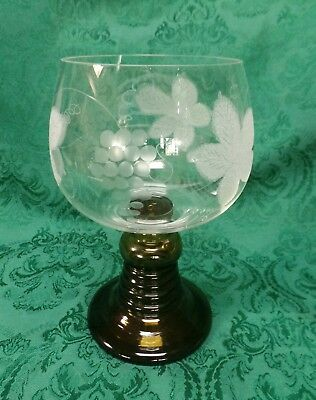very large 1 liter German etched green romer base  style wine glass goblet