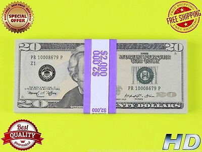 PROP MONEY 100 x 20s New Style - Play Money Fake Prop Bills Movie Money