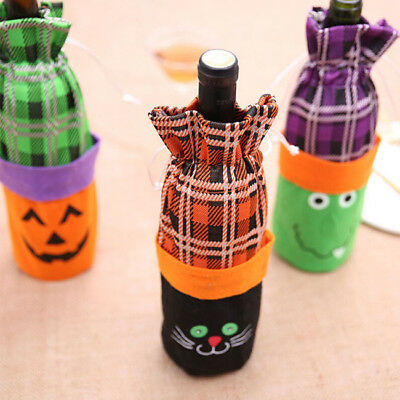 Halloween Pumpkin Cat Witches Wine Bottle Cover Bag Party Supply B