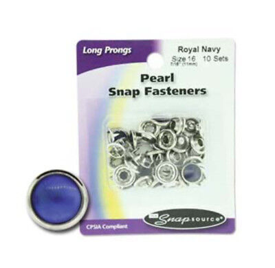Long Prong Size 16 Snaps Pearl Series  10 Sets (Royal Navy)