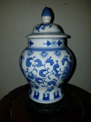 Vintage Chinese Blue and White Covered Temple Jar, Signed